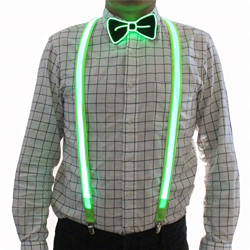 2 Pcs/Set, Good Quality Light Up LED Suspenders And Bow Tie,Perfect For Music Festival Halloween Costume Party (Green)]()