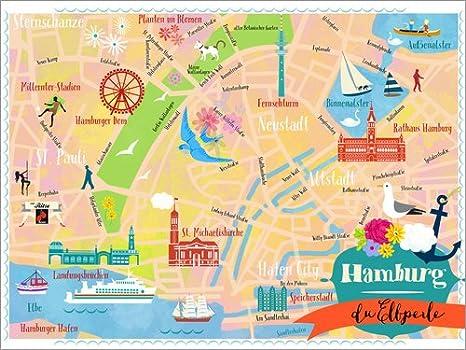 Posterlounge Lienzo 130 x 100 cm: Colorful City Map Hamburg de Elisandra Sevenstar - Cuadro Terminado, Cuadro sobre Bastidor, lámina terminada sobre Lienzo auténtico, impresión en Lienzo