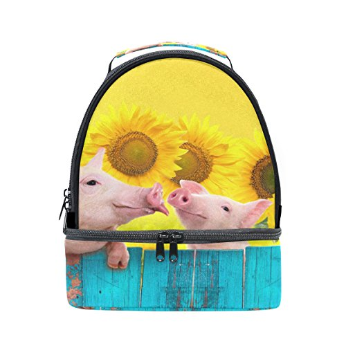 ALAZA Funky Pig Animal Piglet Sunflower Portable Shoulder