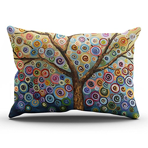 SALLEING Modern Beauty Colorful Painting Trees One Side Decorative Pillowcase King Zippered Throw Pillow Case Cushion Cover 20x36 inches (Sizes Cushion Rectangular)