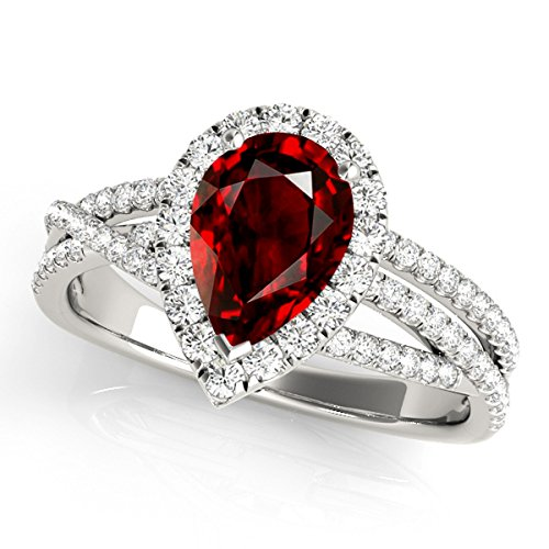 2.15 Ct. Ttw Diamond and Pear Shaped Garnet Ring in 10K White (Pear Shaped Garnet Ring)