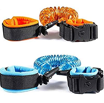 (2 Pack) Locking Anti-Lost Wrist Link/Band with Locking Clip Safety Wrist Link for Child, Toddlers, Babies & Kids with Harness and Leash enlace Anti muñeca perdida pulsera by Zum