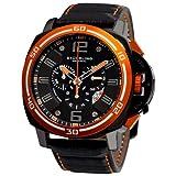 Stuhrling Original Men's 245A.332R557 Excursion Blazer Swiss Quartz Chronograph Orange Bezel Watch