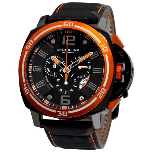 Stuhrling Original Men's 245A.332R557 Excursion Blazer Swiss Quartz Chronograph Orange Bezel Watch by Stuhrling Original (Image #4)