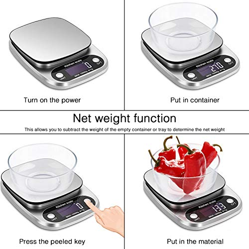ulti-Function Kitchen Scale Household Baking Electronic Scale 10kg Stainless Steel small scale kitchen scale 0.1g Very clear LED large display and large double-sided scale (silver) ()