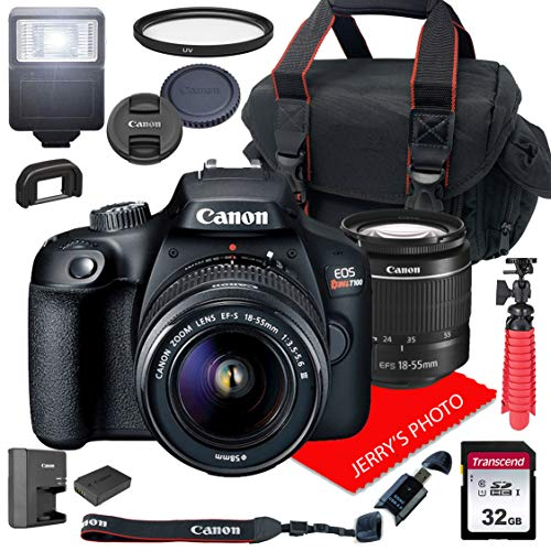 Canon EOS Rebel T100 DSLR Camera w/Canon EF-S 18-55mm F/3.5-5.6 III Zoom Lens + Case + 32GB SD Card (15pc Bundle)