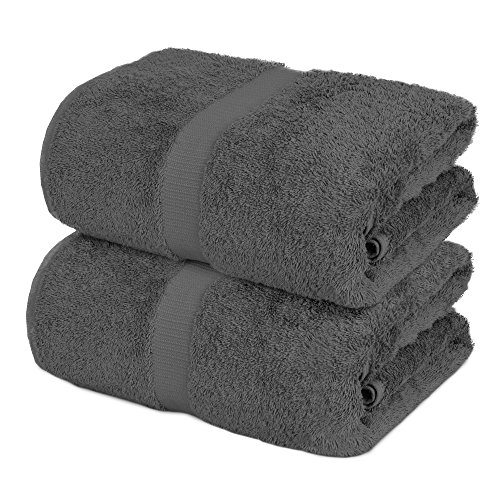 Towel Bazaar 100% Turkish Cotton Bath Sheets, 700 GSM, 35 x 70 Inch, Eco-Friendly (2 Pack, Gray)