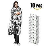 UBEGOOD Emergency Blanket,10 Pack Silver Space Blanket, 52″ x 82″ Waterproof Mylar Thermal Foil Blanket for Outdoor, Survival, Camping, Hiking, Marathons, Homeless, First Aid