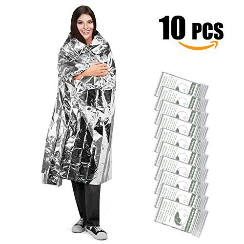 "UBEGOOD Emergency Blanket, Silver Space Blanket, Waterproof Mylar Thermal Foil Blanket 52"" x 82"" for Outdoor, Survival, Camping, Hiking, Marathons, Homeless, First Aid (Pack of 10)"