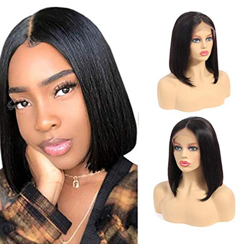 - Kbeth 9A Bob Lace Front Wigs Human Hair Brazilian Remy Human Hair Lace Front Wig for Black Women 4x4 Straight Lace Closure Wigs 180% Density Straight Short Bob Human Hair Wig (10 inch wig)