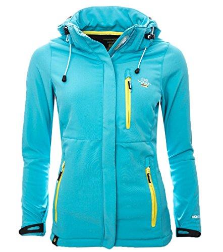 Geographical Norway Damen Softshell Funktions Jacke Outdoor Regen wasserabweisend [GeNo-15-Türkis-Gr.S]