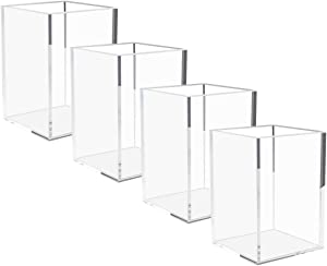 NIUBEE Acrylic Pen Holder 4 Pack,Clear Desktop Pencil Cup Stationery Organizer for Office Desk Accessory