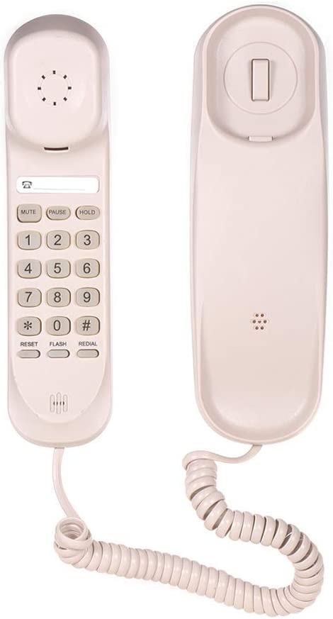 Aibecy Mini Desktop Corded Landline Phone Fixed Telephone Wall Mountable Supports Mute/Pause/Hold/Reset/Flash/Redial Functions for Home Hotel Office Bank Call Center