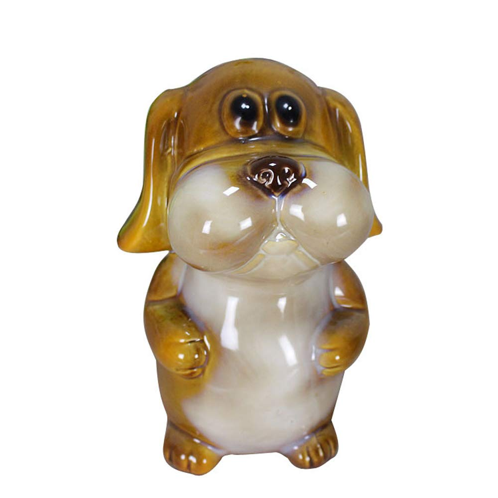 ADbank Ceramic Piggy Bank Coin Storage, Money Box Dog Gifts for Children Friends, Also Ornaments for Room Decorations,A by ADbank