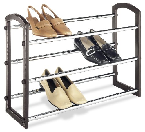 Whitmor Faux Leather Shoe Rack 3-Tier - Stackable Shoe Rack Expandable