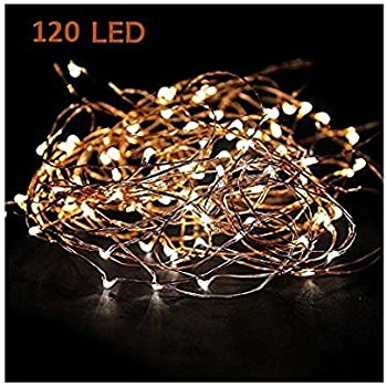 Starry String Lights Warm White Color LED's on a Flexible Copper Wire - LED String Light with 120 Individually Mounted LED's, 20ft