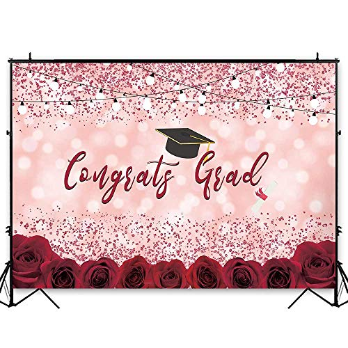 Funnytree 7x5ft Graduation Party Backdrop Class of 2019 Pink Bokeh Spots Floral Photography Background Congrats Grad Prom Roses Flower Decorations Photo Studio Booth Props Cake Table Banner