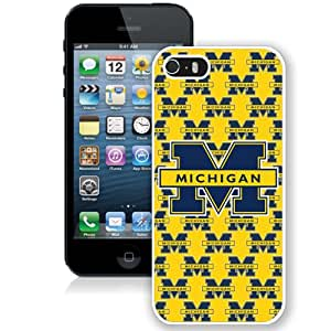 Fashion Custom Designed Cover Case For iPhone 5S Phone Case With Ncaa Big Ten Conference Football Michigan Wolverines 21 Protective Cell Phone Hardshell Cover Case for Iphone 5 5s White