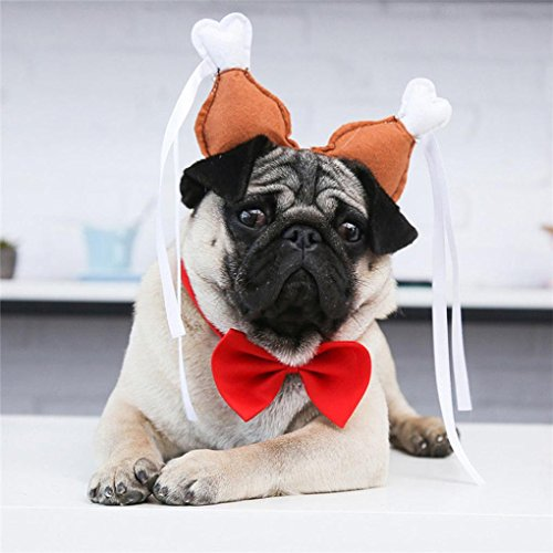 Nacome Pet Headband Accessories,Small Dog Cat Costume Turkey Chicken Drumstick Headdress For Party Decorations (Brown, S)