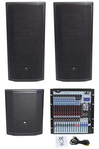 "Amp Jbl Sub ((2) JBL Pro PRX835XW 15"" 3-Way 1500w Speakers+15"