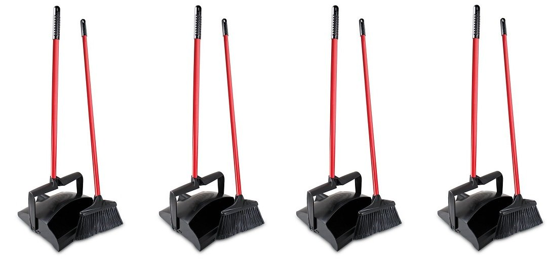 Libman Commercial 919 Lobby Dust Pan and Broom Set (Open Lid), 41'' Length, 12'' Width, Black/Red (Pack of 2) (4 PACK)