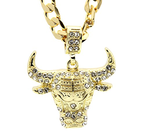 Mens gold tone iced out bull small pendant with 5mm 24 cuban chain mens gold tone iced out bull small pendant with 5mm 24 cuban chain necklace amazon aloadofball Choice Image