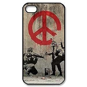 TY-Popular Banksy Soldado Pintura Paz configuración de signos de plástico duro caso para iPhone 4/4S