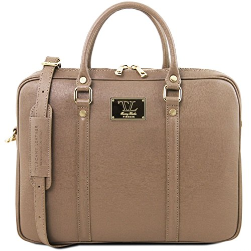 Tuscany Leather Prato Exclusive Saffiano leather laptop case Dark Taupe by Tuscany Leather