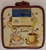 The Pecan Man Home Collection Coffee Cafe Latte Linen Everyday Kitchen Set of 2 Potholders