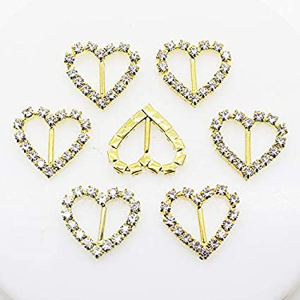 Amazon Com Xinxi 30pcs 25mmx20mm Gold Heart Rhinestone