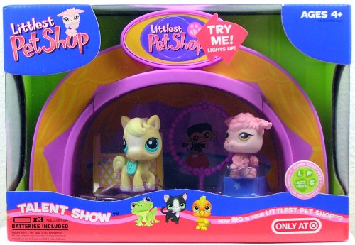 (Littlest Pet Shop Light Up Dome Talent Show with Poodle #402 & Pony #403)