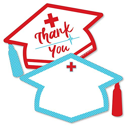 Nurse Graduation - Shaped Thank You Cards - Medical Nursing Graduation Party Thank You Note Cards with Envelopes - Set of ()