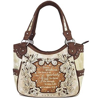 Embroidered Bible Verse 2 Corinthians 12:9 Purse Scripture Western Handbag Women Shoulder Bags Wallet Set