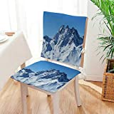Mikihome Seat Set Cushion Snow Mountain Under The Blue Sky 2 Piece Classic Decorative Chair pad Mat:W17 x H17/Backrest:W17 x H36