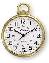 Gotham Mens Gold-Tone Ultra Thin Railroad Open Face Quartz Pocket Watch # GWC15026G