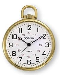 Gotham Men's Gold-Tone Ultra Thin Railroad Open Face Quartz Pocket Watch # GWC15026G