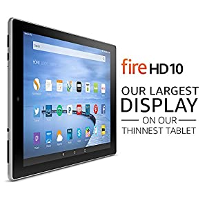 "Fire HD 10 Tablet with Alexa, 10.1"" HD Display, 16 GB, Silver Aluminum - with Special Offers (Previous Generation - 5th)"
