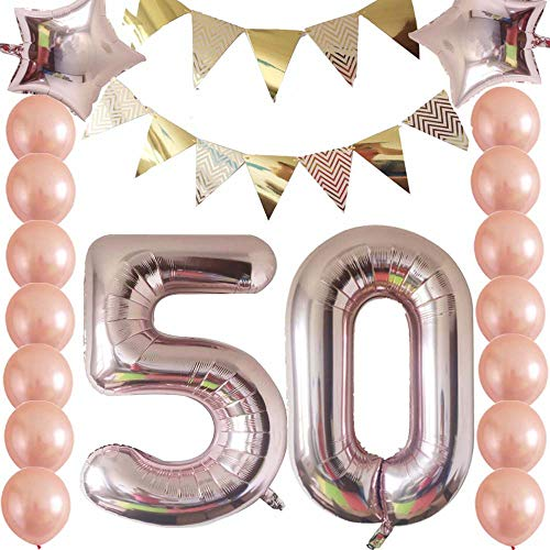 Cheeringup Rose Gold Funny Happy 50th Birthday Decorations Kit