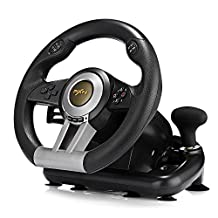 Racing Game Steering Wheel with Foldable Pedal for PlayStation 4, PlayStation 3, and PC