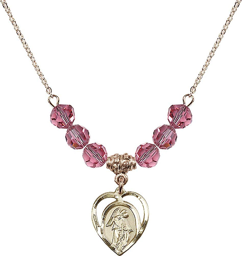18-Inch Hamilton Gold Plated Necklace with 6mm Rose Birthstone Beads and Guardian Angel Charm Pink Rose October Birthstone