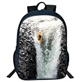 Pictures Print Design Black Double-deck Rucksack,Waterfall,Photo of Man Kayaking in Canoe Flowing Wild Water Nature Extreme Outdoors Art Print Decorative,Multi,for Kids,Comfortable Design.15.7''x 11.8''