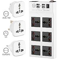 Yubi Power Power Strip w/ 6 Universal Sockets & 4 USB Ports - 100v - 220v / 250v - Surge Protection - Circuit Breaker…