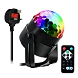AOGUERBE Stage Light DJ Party Lights Disco RGB LED Mini Magic Crystal Ball Strobe Lamp Sound Activated Remote Control Halloween Christmas Lighting Atmosphere for Bar Wedding Show Club Pub [UK Plug]
