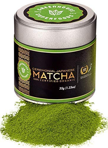 Matcha Ceremonial Grade - Macha Powder Green Tea Organic - Original Japanese 1st Harvest - Gently Dried - Exceptional Taste - Dual Certified - 200 Years History by GREENHOUSE SUPERFOODS [35g/1.23oz]