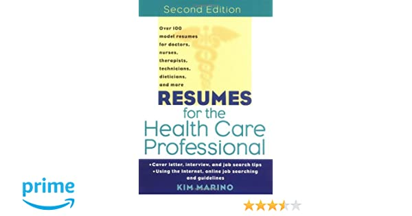Resumes For The Health Care Professional 9780471380733 Medicine
