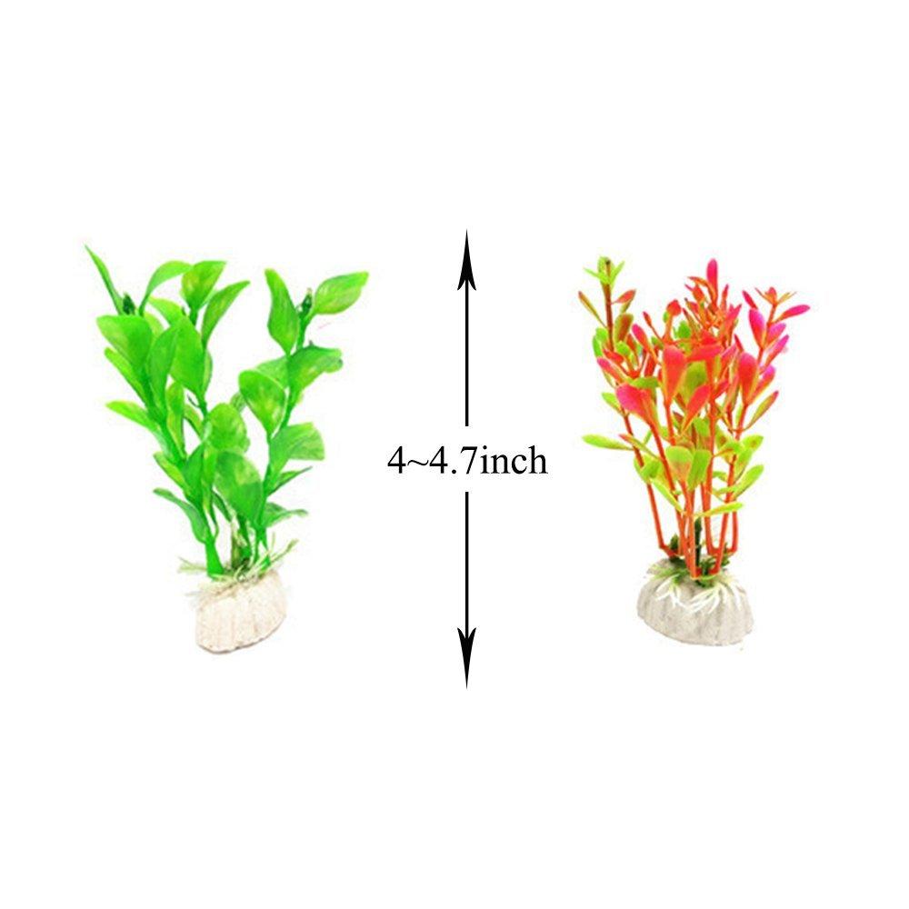 amazon com glendan 11 pack artificial aquarium plants small size 4
