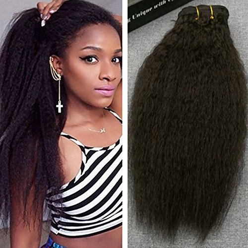 Ugeat 18inch 120g 7pcs Yaki Afro Kinky Straight Clip in Remy Human Hair Extensions for Black Women Natural Color Yaki Straight Human Hair Clip in Extensions Full Head Set