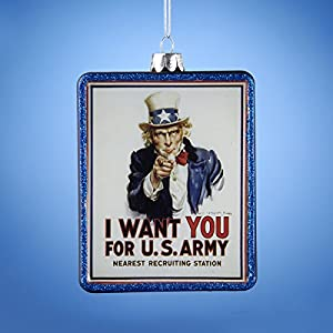 Kurt Adler Glass U.S. Army Recruitment Poster Ornament, 4.25-Inch