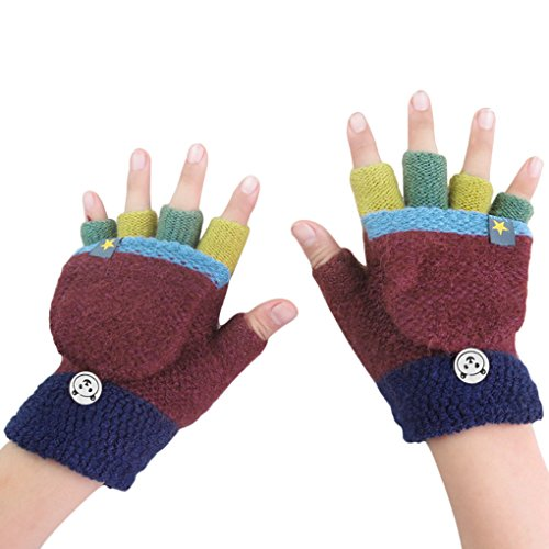 Price comparison product image Kids Toddler Thermal Flip Top Gloves Mittens with Mitten Cover Baby Boys Girls Winter Warm Knitted Wool Stretch Half Finger Gloves Teen Children Thicken Warm Cozy Fingerless Hand Wear Gloves