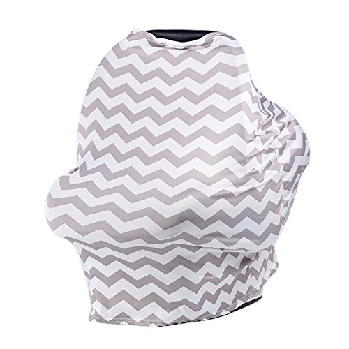 QXT Nursing Breastfeeding Cover - Breastfeeding Scarf, Baby Car Seat Canopy, Shopping Cart, Stroller Covers for Girls and Boys (Gray) by QXT